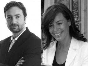 El candidato socialista Arnaud Leroy (izqda.)y la candidata por la UMP Laurence Sailliet (dcha.)
